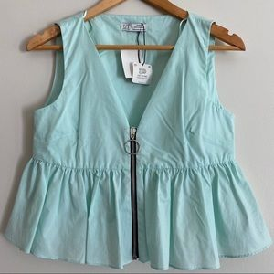 NEW Zara TRF Mint Green Sleeveless Peplum Crop Top